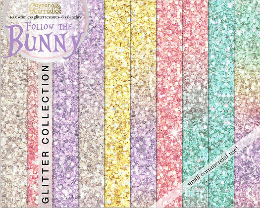 Follow the Bunny - pastel glitter backgrounds collection