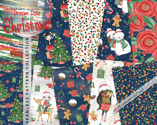 Dream Dollz Christmas Digital Paper Collection