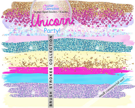 Unicorn Party Brush Strokes clipart collection