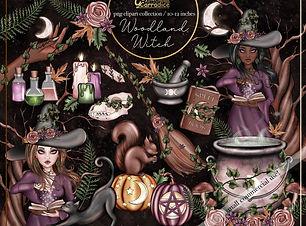 Woodland-witch-clipart digital planner girl seamless pattern 1 (5).jpg