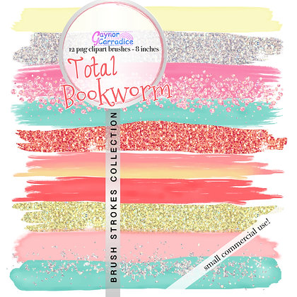 Total Bookworm Brush Strokes clipart collection