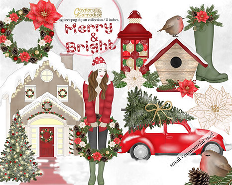 Merry and Bright Fashion Clipart Collection