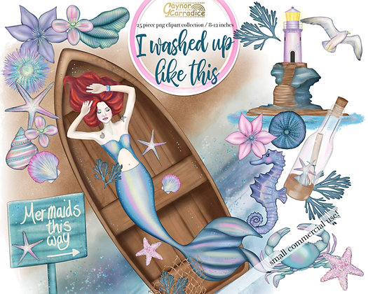 I washed up like this - Mermaid clipart collection