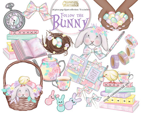 Follow the Bunny - Easter planner clipart collection