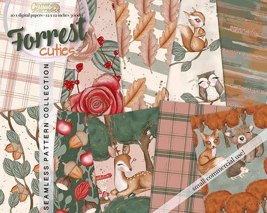 Forrest Animals Digital Paper Collection