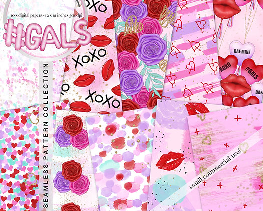 Gals - valentine seamless pattern collection