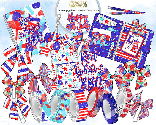 Happy 4th July planner clipart