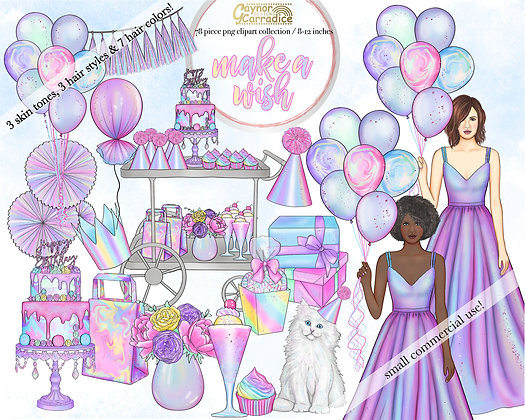 Make a wish watercolor clipart