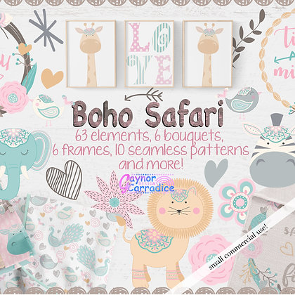 Safari Baby Animals Designer Clipart & Paper Collection