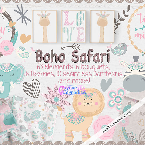 Safari Baby Animals Designer Clipart & Paper Collection
