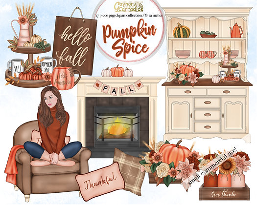 Pumpkin Spice Cosy clipart collection