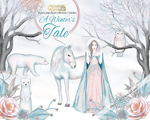 A Winter's Tale - Winter fairy tale clipart collection 2