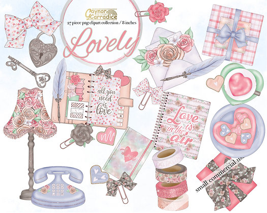 Lovely - valentines planner clipart collection
