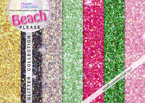 Beach Please glitter digital paper collection