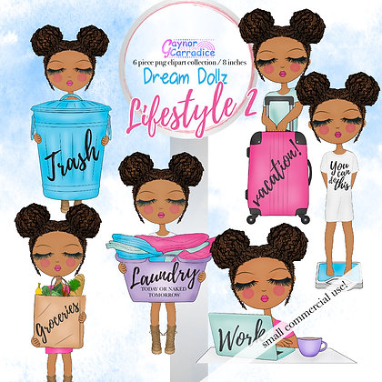 Dream Dollz, cute girl clipart collection, Lifestyle 2 - New Hairstyle