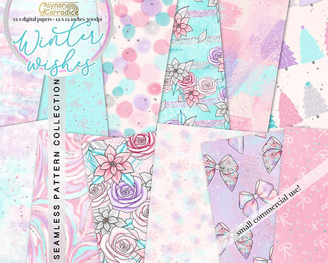 Winter Wishes abstract/floral Digital Papers