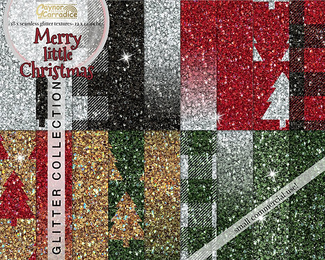 Merry little Christmas glitter backgrounds
