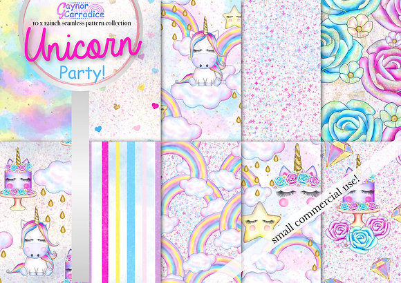 Cute Unicorn Party digital paper collection