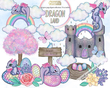Dragon land watercolor clipart