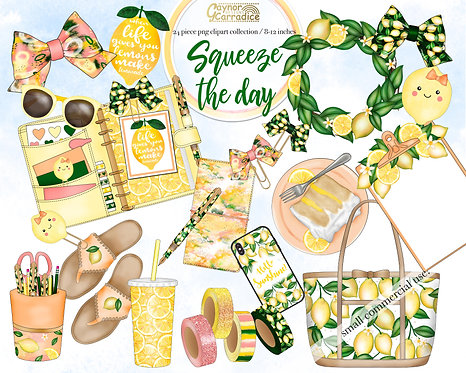 Squeeze the day - lemon planner clipart collection