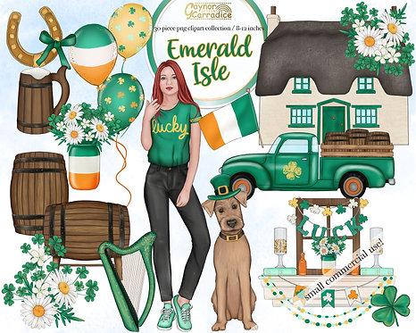 Emerald Isle Watercolor Clipart