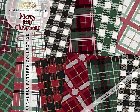 Merry little Christmas plaid seamless digital papers