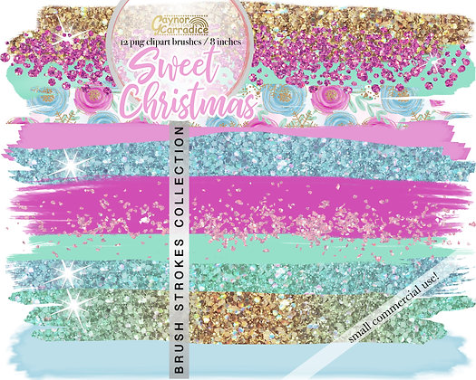 Christmas Unicorn Brush Strokes clipart collection