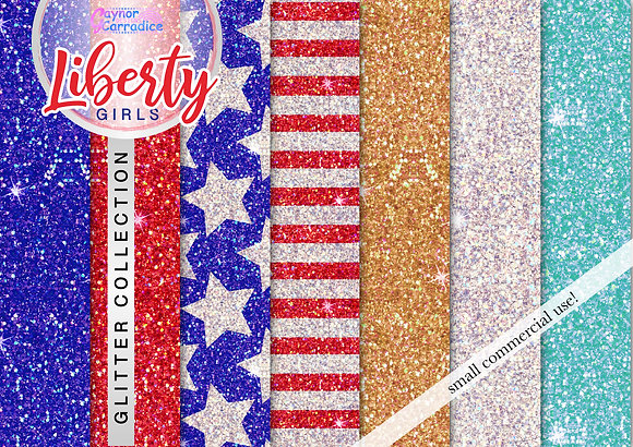 Liberty Girls glitter digital paper collection