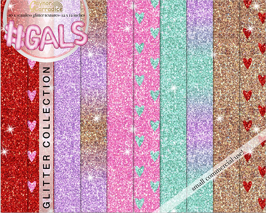 Gals - valentines glitter backgrounds collection