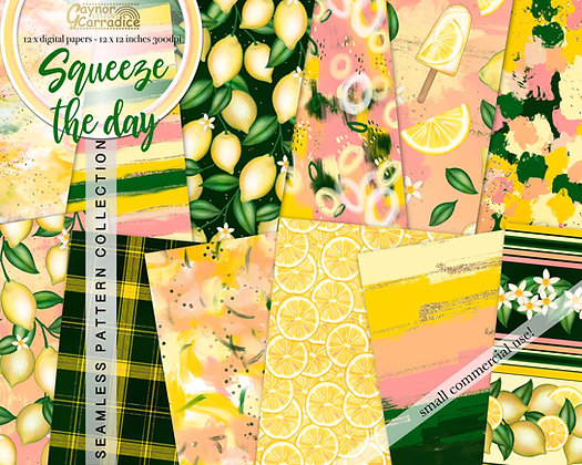Squeeze the day - abstract and lemon seamless pattern coll