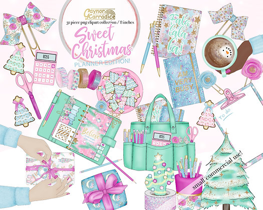 Christmas Unicorn Planner Clipart Collection