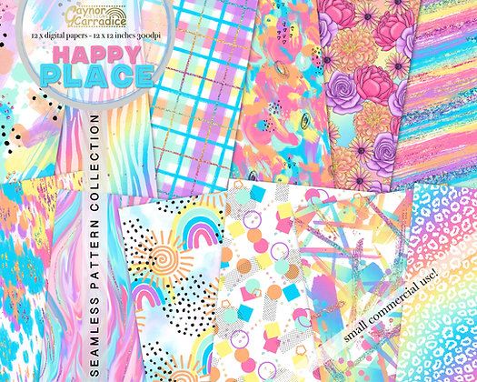 Happy Place rainbow digital papers