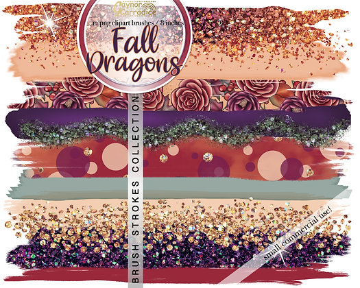 Autumn dragons brush strokes clipart collection