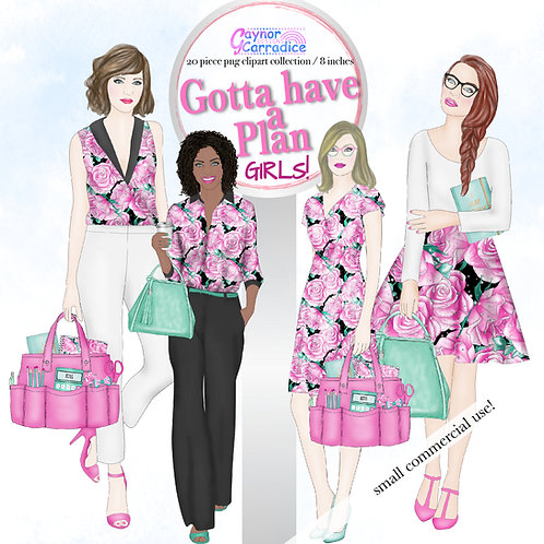 Planner Girl Fashion Clipart Collection Dolls