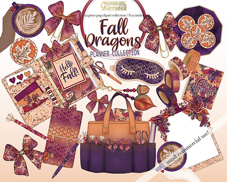 Autumn dragons planner clipart collection