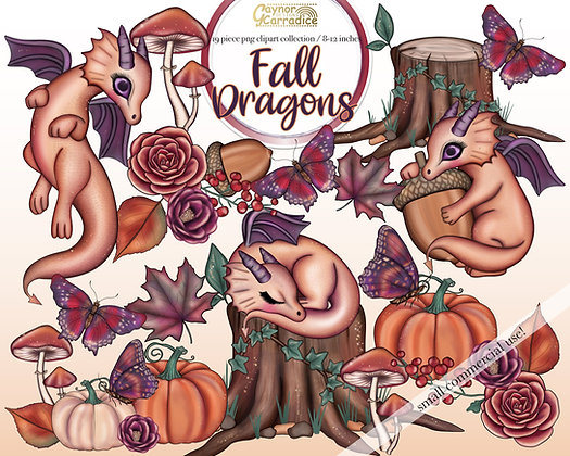 Autumn dragons clipart collection