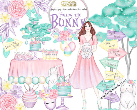 Follow the Bunny - Easter clipart collection