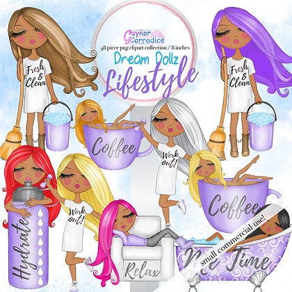 Dream Dollz, cute girl clipart collection, african american planner icons