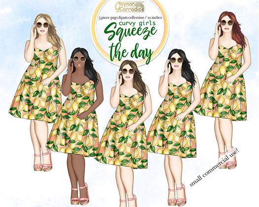 Squeeze the day - Lemon fashion clipart - curvy girls