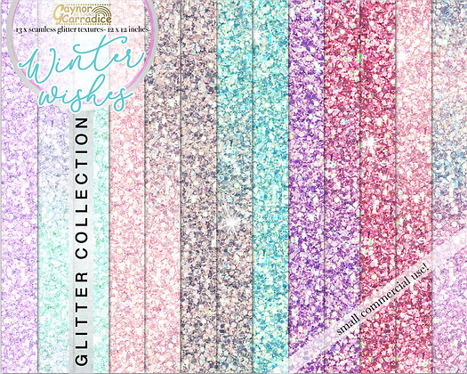 Winter Wishes glitter backgrounds