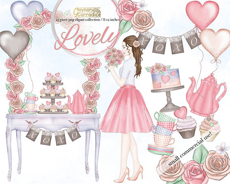 Lovely - whimsical valentines clipart collection