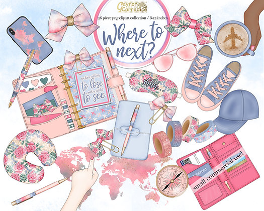 Where to next? - travel planner clipart collection