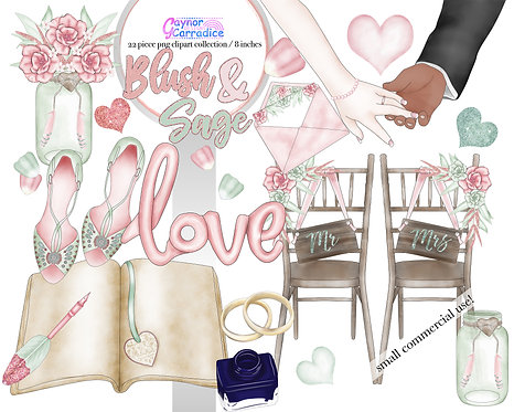 Blush and Sage boho wedding clipart collection 2