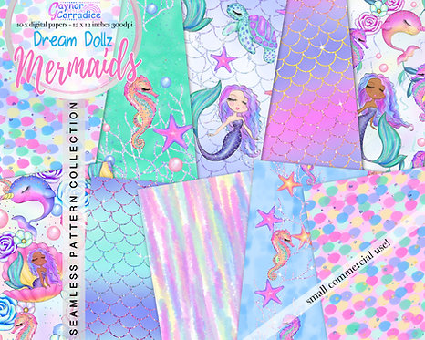 Dream Dollz Mermaids digital paper collection