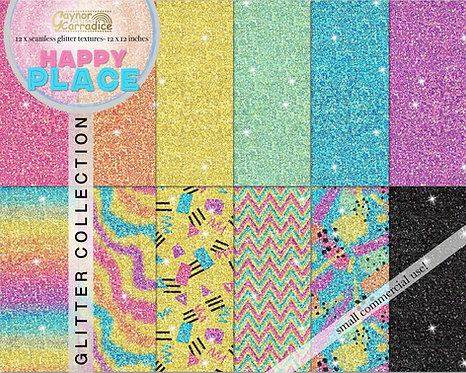 Happy Place rainbow glitter backgrounds