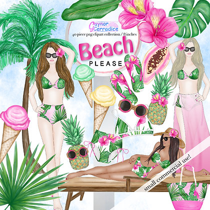 Beach Please Fashion Clipart Collection