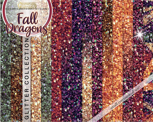 Fall dragons - Autumn glitter backgrounds collection