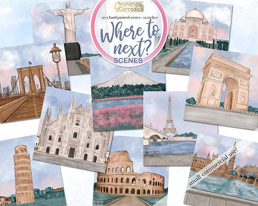 Where to next? - around the world landmarks, travel scenes