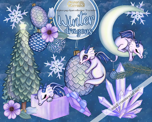 Cute winter dragons clipart collection