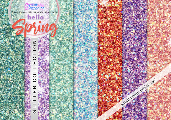 Hello Spring glitter digital paper collection